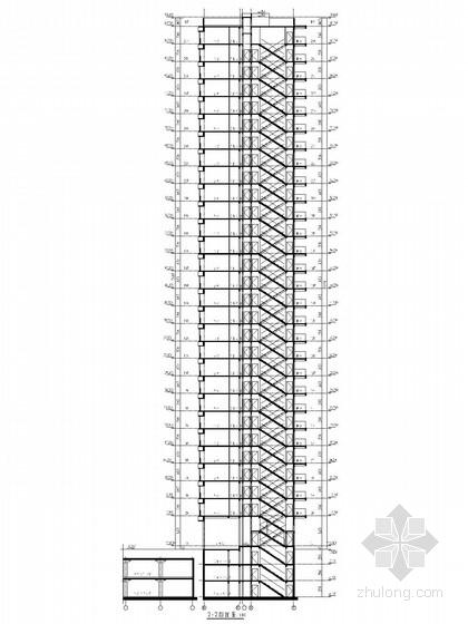 33层现代风格住宅楼剖面图