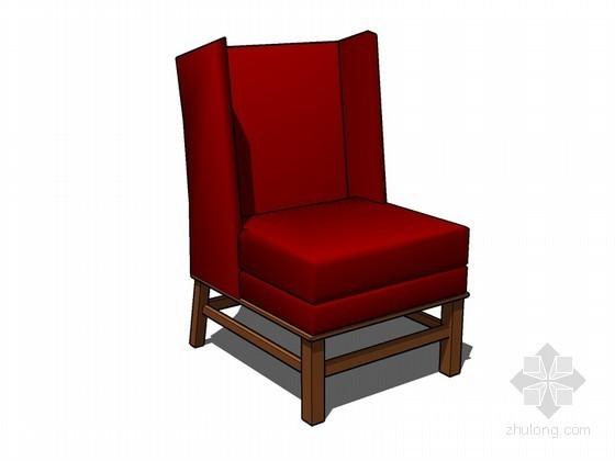 红色沙发SketchUp模型下载