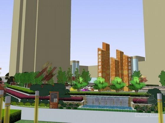 商业广场景观设计sketchup模型下载