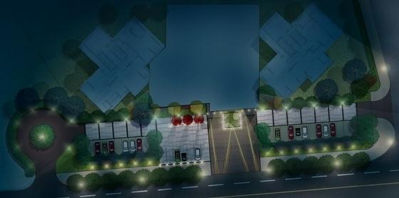 [武汉]典雅住宅小区及售楼处附属绿地景观扩初设计方案(知名设计公-分区夜景平面图