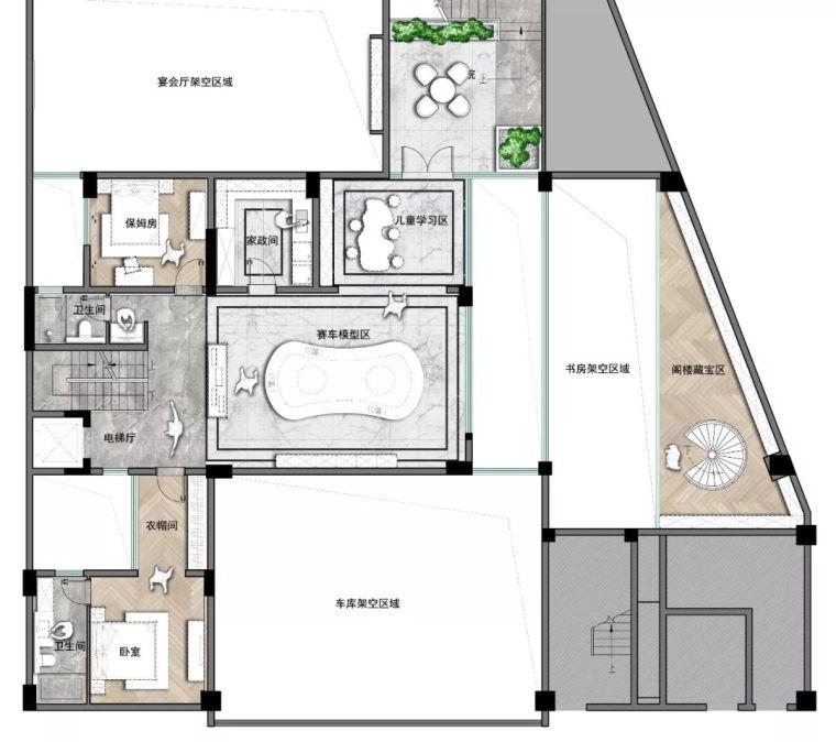 质朴材质也能构建空间气质,顶级别墅样板间设计_25