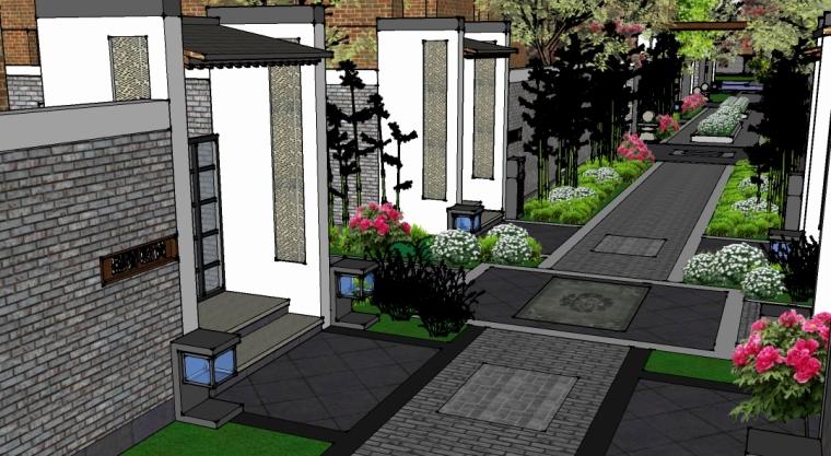 中式巷子景观SU模型——门户入口