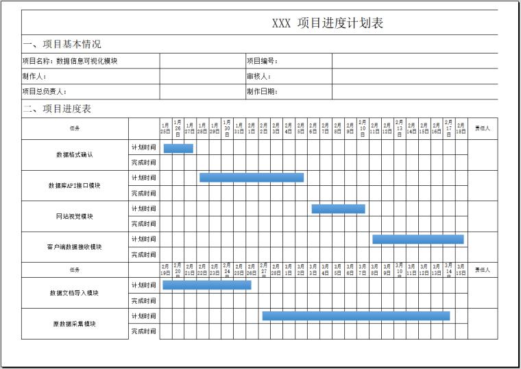 项目进度计划表(模板)