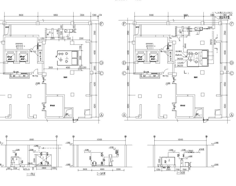换热站机房设计图纸(含换热机组流程图,换热机房平面、剖面图,气候补偿自动控制)